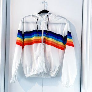 Rainbow Striped White Windbreaker Jacket